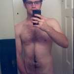 Geeky Boy Showing A Thin Erect Penis