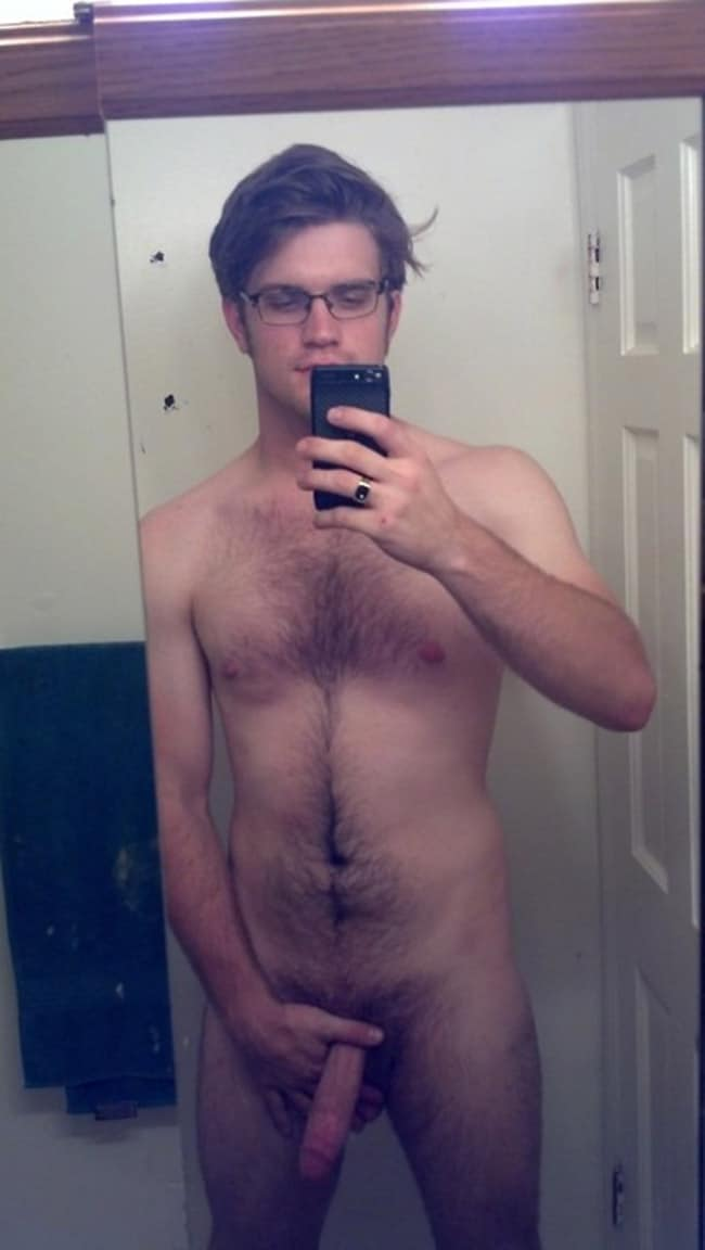 Geeky Boy Showing A Thin Erect Penis - Nude Men With Boners