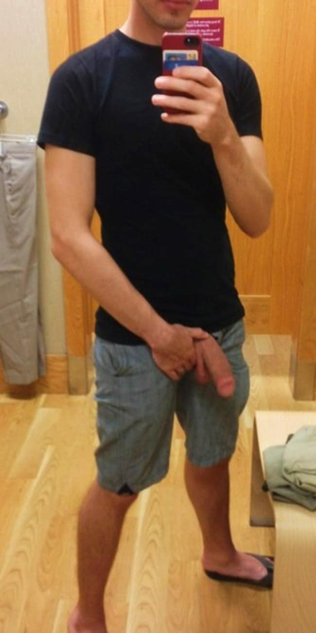 Man In Short Pants Shows A Hung Dick - Nude Men With Boners