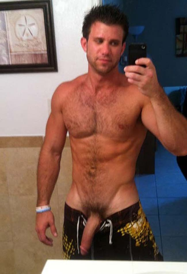 Strong Guy Showing His Nice Hairy Dick - Nude Men With Boners